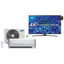 "Smart TV LED 70"" Samsung 4K/Ultra HD 70KU6000 - Conversor Digital + Ar-Condicionado Split Samsung"