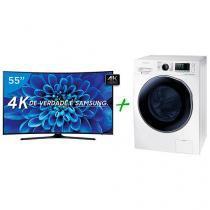 "Smart TV LED Curva 55"" Samsung 4K/Ultra HD - 55KU6300 Conversor Digital + Lava e Seca 9Kg"