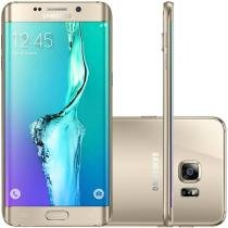 "Smartphone Samsung S6 Edge+ 32GB Dourado 4G Câm. 16MP + Selfie 5MP Tela 5.7"" Quad HD Octa Core"
