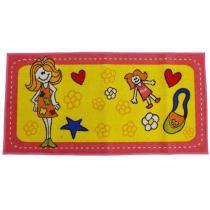 Tapete Clean Kasa Infantil Coisas de Menina 0,75x1,00 m - Amarelo - Kapazi