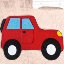 Tapete Infantil Formato Big Carro Aventura Vermelho 84x132cm - Guga Tapetes - Vermelho - Guga Tapetes