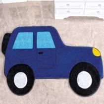 Tapete Infantil Formato Carro Aventura Azul Royal 62x88cm - Guga Tapetes - Azul - Guga Tapetes
