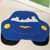 Tapete Infantil Formato Carro Furioso Azul Royal 62x76cm - Guga Tapetes - Azul - Guga Tapetes