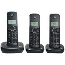 Telefone sem Fio Motorola Expansível até 4 Ramais - com Identificador de Chamadas MOTO500ID-3 Preto