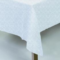 Toalha De Mesa Jacquard Neo Classico Arabesco 160x320 Branco Camesa - Quadrada - Camesa