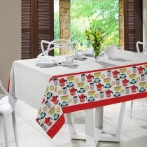 Toalha de Mesa Quadrada Kitchen 4P 140x140cm - Santista - Branco - Santista