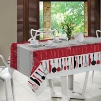 Toalha de Mesa Retangular Lunch 6P 140x210cm - Santista - Vermelho - Santista