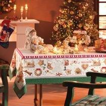 Toalha de Mesa Retangular Receita Noel 6p 140x210 cm - Karsten - Natal - Karsten