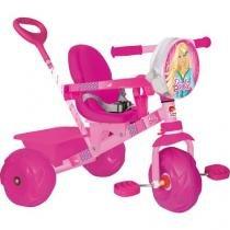 Triciclo Infantil Bandeirante Barbie Smart - Haste Removível Porta Objetos