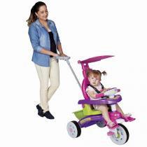 Triciclo Infantil Fit Trike Rosa com Haste e Sons 3339 Magic Toys - Magic Toys