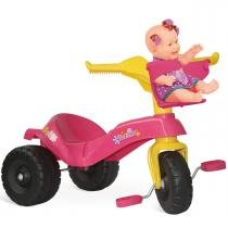 Triciclo Infantil Mototico Gatinha Rosa/Amarelo 819 - Bandeirante - Bandeirante