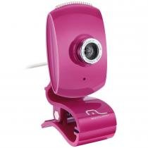 Webcam com Microfone Facelook 16MP Rosa WC048 - Multilaser - Multilaser