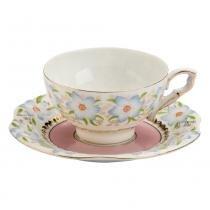 Xícara para Chá com Pires Flor Azul - Bon Gourmet