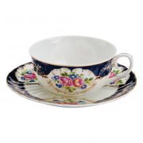 Xícara para Chá com Pires Flores - Bon Gourmet
