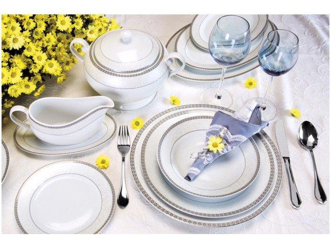 Aparelho de Jantar 45 Peças Casambiente Porcelana Redondo Colorido  #58523B 1500x1126