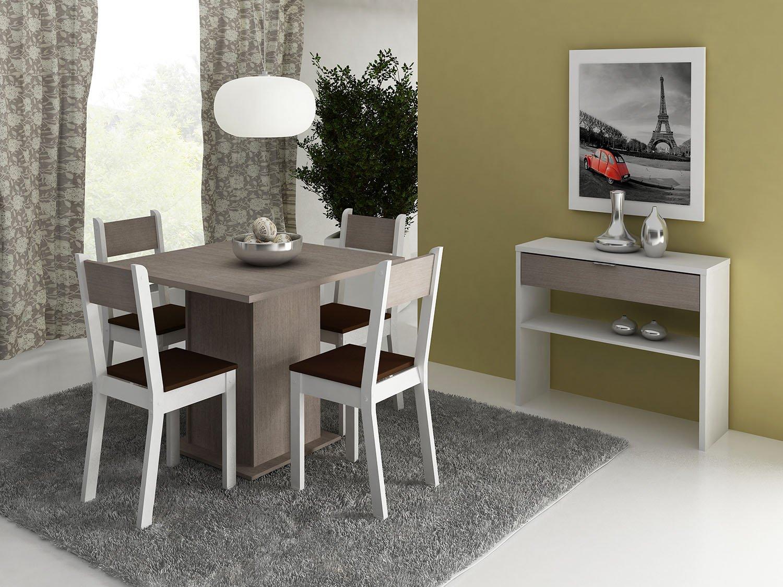 Conjunto de Mesa com 4 Cadeiras Estofadas Madesa Styllus Mesa de  #A33428 1500x1125