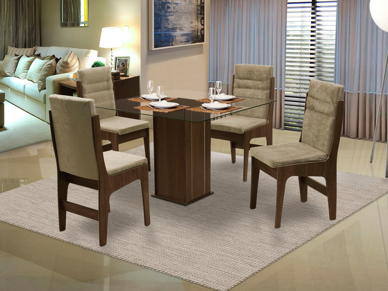 Conjunto De Mesa E 4 Cadeiras Laura Branco Carraro Pictures to pin on  #8F3C3F 1500x1125