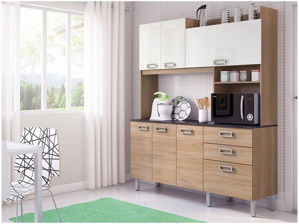 Cozinha Compacta Itatiaia Açaí com Balcão 7 Portas 2 Gavetas  #458659 1250 937