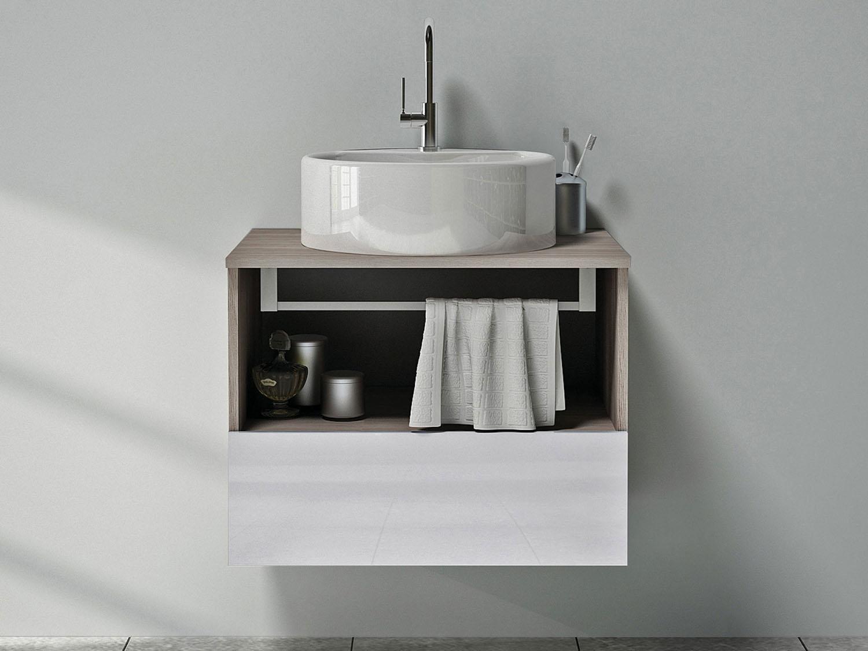 Gabinete para Banheiro com Cuba 1 Gaveta Itatiaia Solaris Armários  #6E665D 1500 1125
