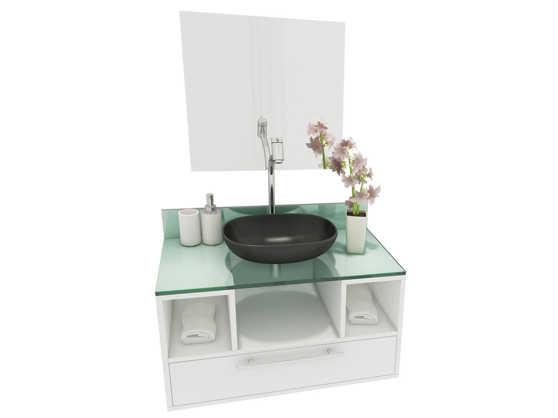 Gabinete para Banheiro com Cuba e Espelho 1 Gaveta VTec Kit Merak  #758046 1500 1125