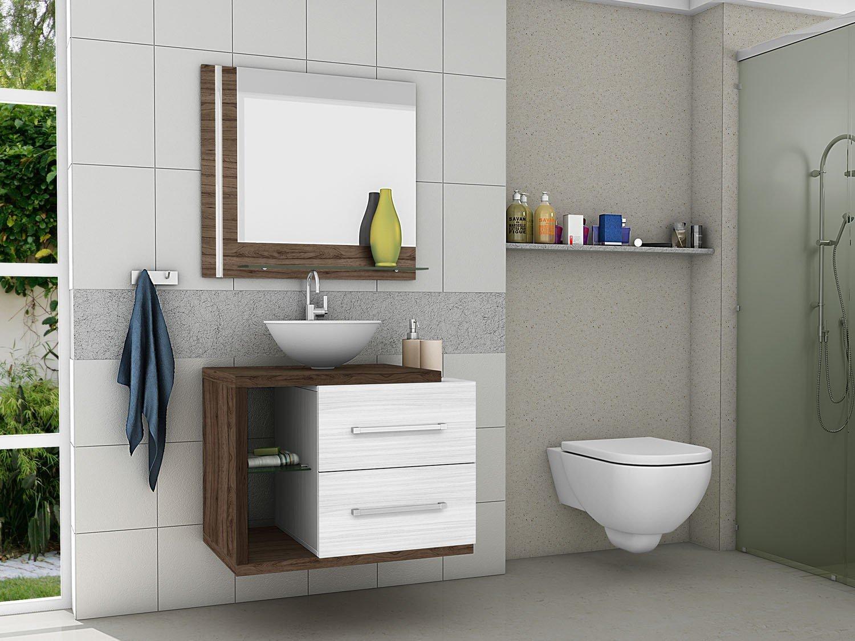 Gabinete para Banheiro com Espelho 2 Gavetas Móveis Bechara Milão  #384C6F 1500x1125 Armario Banheiro Magazine Luiza