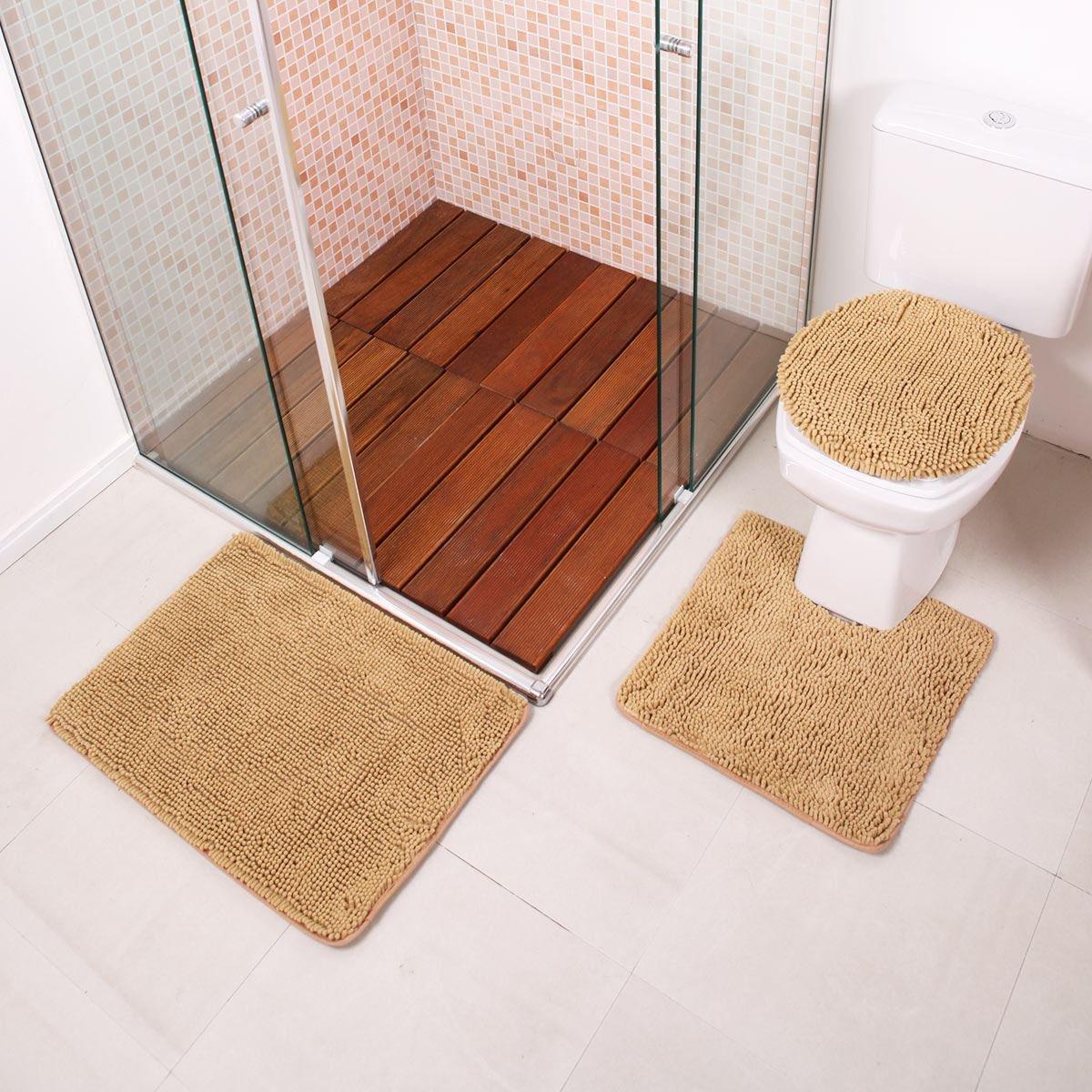 de Tapetes para Banheiro Lages 3 Peças Finecasa Finecasa Tapetes  #6B4C3C 1200 1200