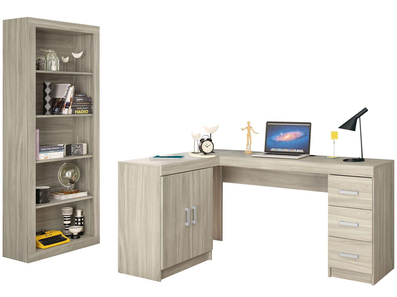 Mesa para Computador e Escrivaninha 2 Portas 3 Gavetas com Estante  #396392 1500x1125