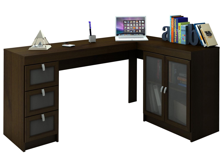 Mesa para Computador/Escrivaninha Espanha 2 Portas 3 Gavetas com Vidro  #2C426D 1500x1125