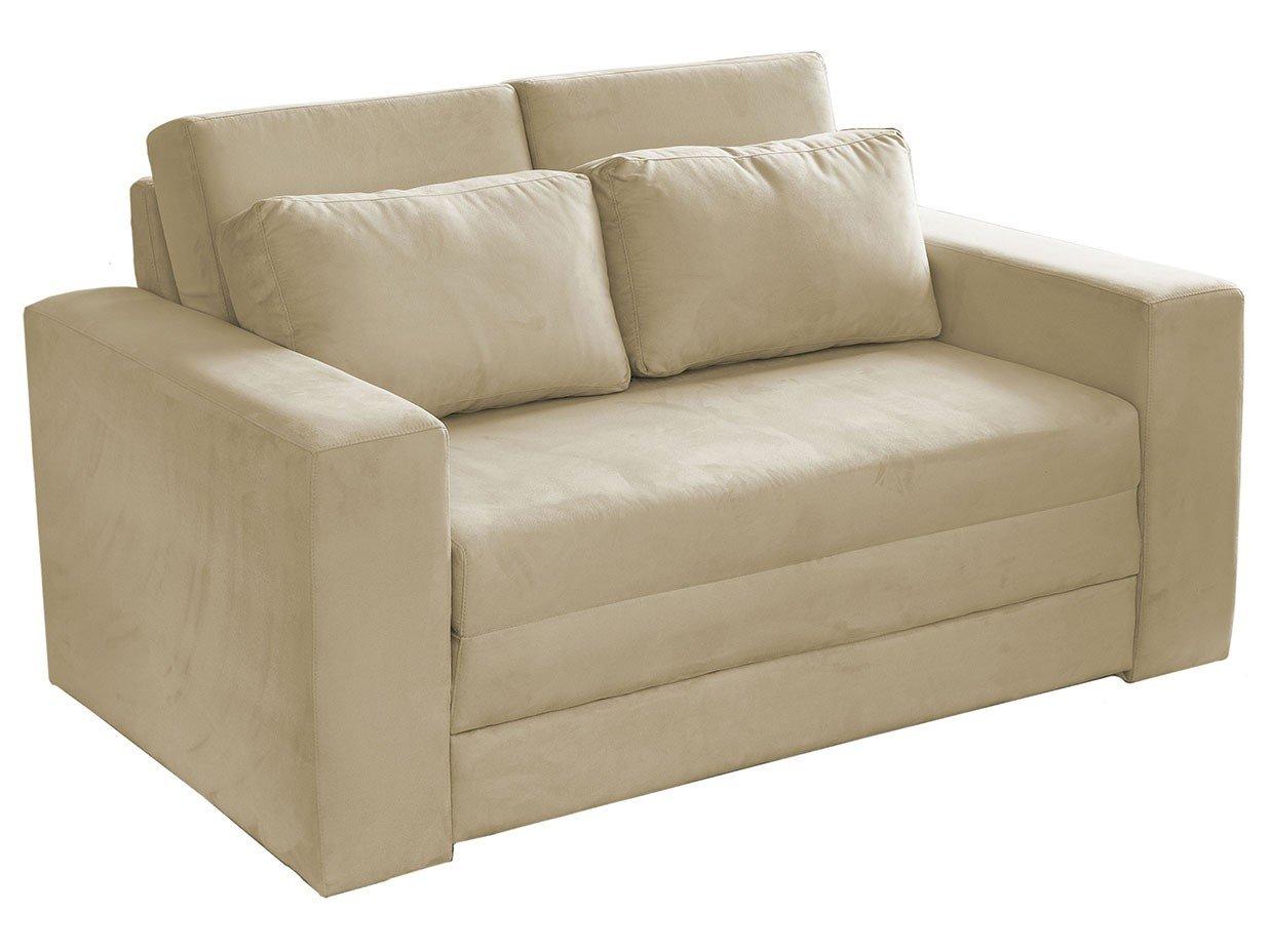 Sof cama 2 lugares suede castor master salerno sof for Sofa cama armario