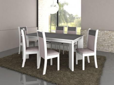Conjunto de Mesa 6 Cadeiras Estofadas Madesa - Milano