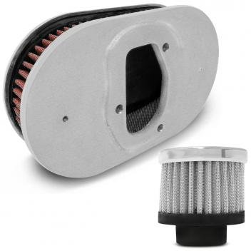 Kit Filtro Respiro Race Óleo Cromo + Filtro Ar Vermelho + Base Carburador Mini Progressivo Linha Prime - Acessórios para carro DESCONTO DE R$: 67,00 (40,39% OFF) - OFERTA MAGAZINE LUIZA
