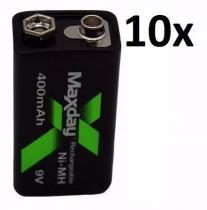 10 X Bateria Baterias Recarregável 9v 400 Mah Preço Atacado - Maxday