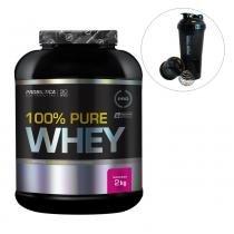 100 pure whey 2kg probiótica pro + coqueteleira 600ml -