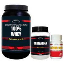 100 Whey Nitech Morango + Cálcio 480 Nitech + Glutamina 120G Nitech - Nitech nutrition
