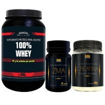 100 Whey Nitech Morango + Zma Golden + Creatina Golden - Nitech Nutrition