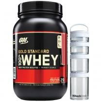 100  Whey Protein Gold Standard - 909G + Nitech Stak - Optimum -