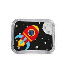 12 Marmitinhas Bolo/Doces Astronauta 8,5X6,5X2,5Cm Festas - Cromus