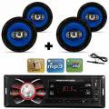 Kit 4 Auto Falante 6 Pol + Radio Carro Mp3 Usb+ Antena Fm - Orion