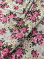 Tecido para decoração Gorgurinho floral vintage bege rosa - Tmdecor