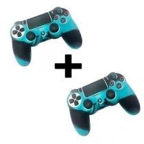 2 Capas de Silicone para Controle Joystick Playstation 4 AZUL e Preto - Importado