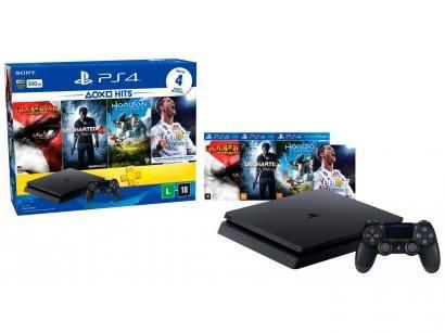 Playstation 4 Hits Bundle 500GB Sony 1 Controle - 4 Jogos e Voucher PS Plus 3 meses