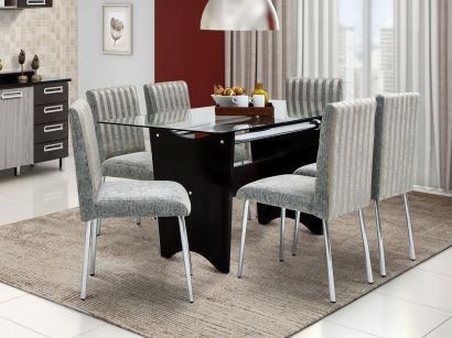 Conjunto de Mesa com 6 Cadeiras Estofadas Somopar - Munique