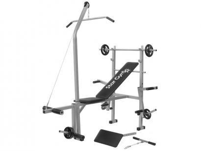 Aparelho de Musculação StarGym S600   - com 4 Anilhas de 2kg e 2 Anilhas de 1 kg 1 Barra