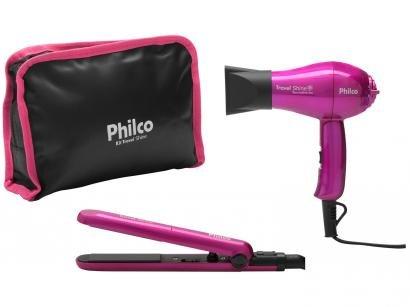 Secador de Cabelo Philco Kit Travel Shine Roxo p/ - Viagem Dobrável Turmaline Íon 1000W 2 Velocidades