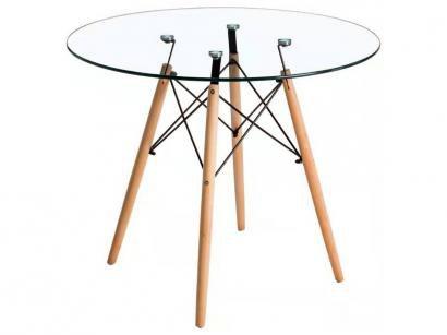 Mesa de Jantar de Madeira Tampo de Vidro - Pés Palito Eames UT103045 Travel Max
