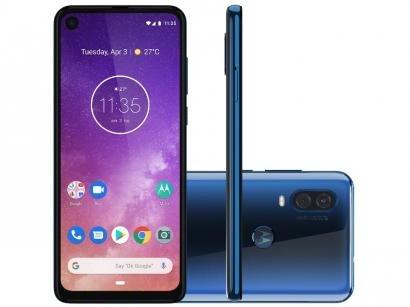 "Smartphone Motorola One Vision 128GB Azul Safira - 4G 4GB RAM 6,34"" Câm. Dupla + Câm. Selfie 25MP"