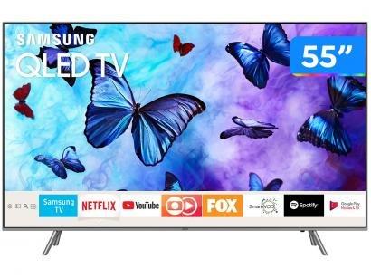 "Smart TV QLED 55"" Samsung 4K/Ultra HD Q6FN - Tizen Conversor Digital Modo Ambiente Linha 2018"