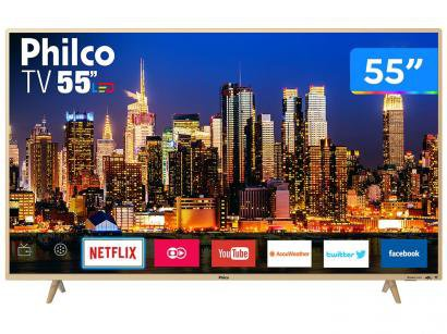 "Smart TV 4K LED 55"" Philco PTV55F61SNC - Wi-Fi Conversor Digital 3 HDMI 2 USB"