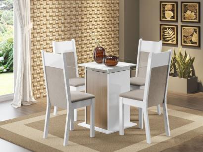 Conjunto de Mesa com 4 Cadeiras Estofadas Madesa - Jane