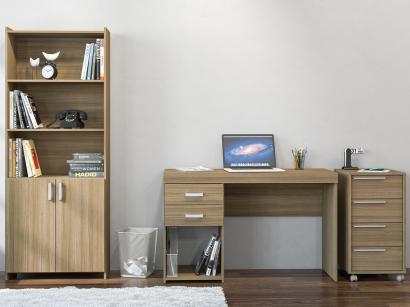 Conjunto Osório 2 Portas 6 Gavetas Politorno Mesa - para Computador/Escrivaninha Estante e Gaveteiro